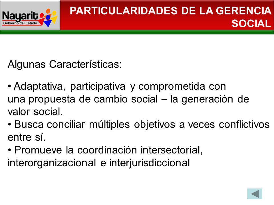Algunas Características: Adaptativa, participativa y comprometida con una propuesta de cambio social – la generación de valor social. Busca conciliar