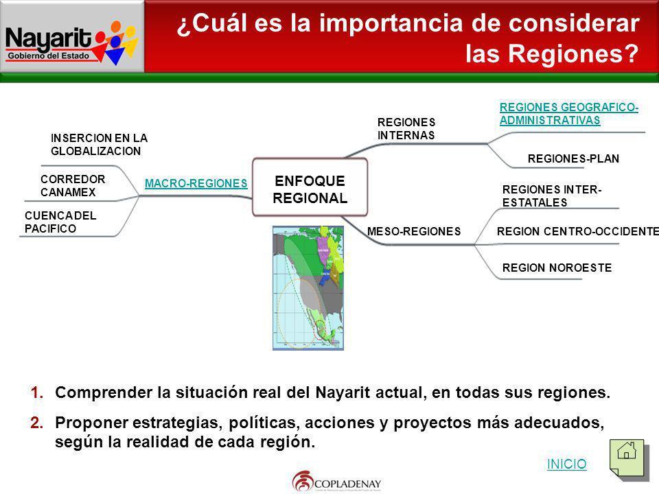 ¿Cuál es la importancia de considerar las Regiones? REGIONES GEOGRAFICO-ADMINISTRATIVAS 1.Comprender la situación real del Nayarit actual, en todas su