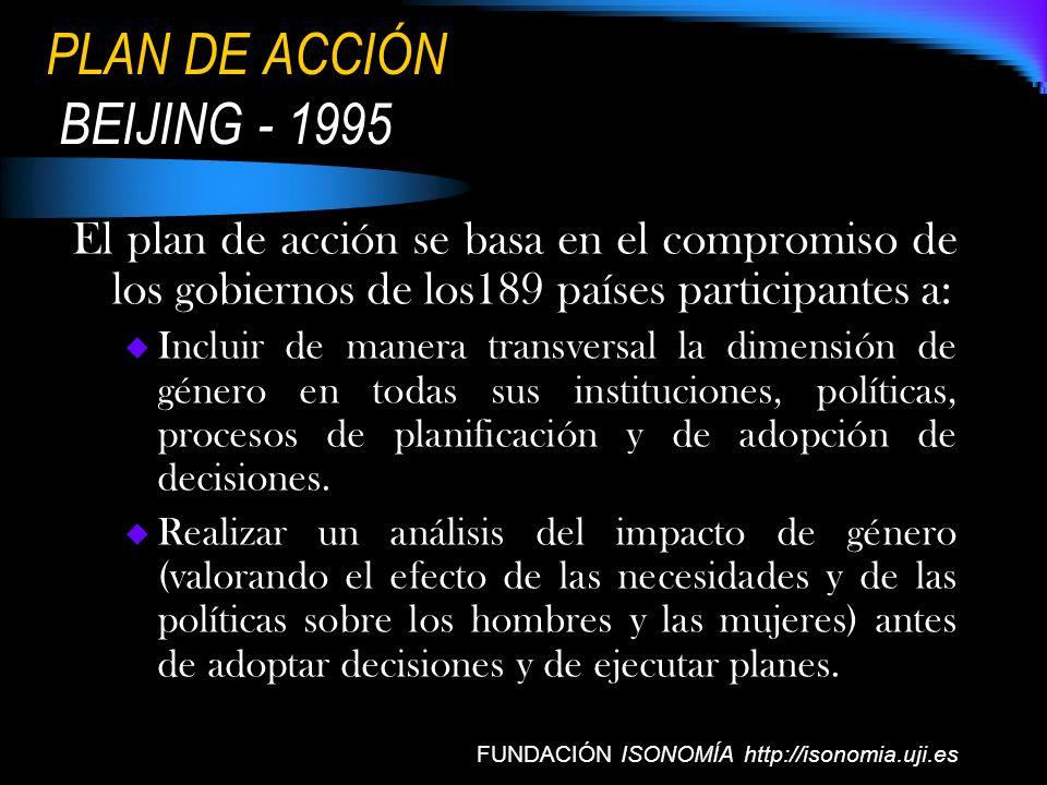 PLAN DE ACCIÓN BEIJING - 1995 El plan de acción se basa en el compromiso de los gobiernos de los189 países participantes a: Incluir de manera transver