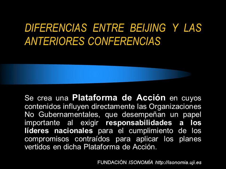 DIFERENCIAS ENTRE BEIJING Y LAS ANTERIORES CONFERENCIAS Se crea una Plataforma de Acción en cuyos contenidos influyen directamente las Organizaciones
