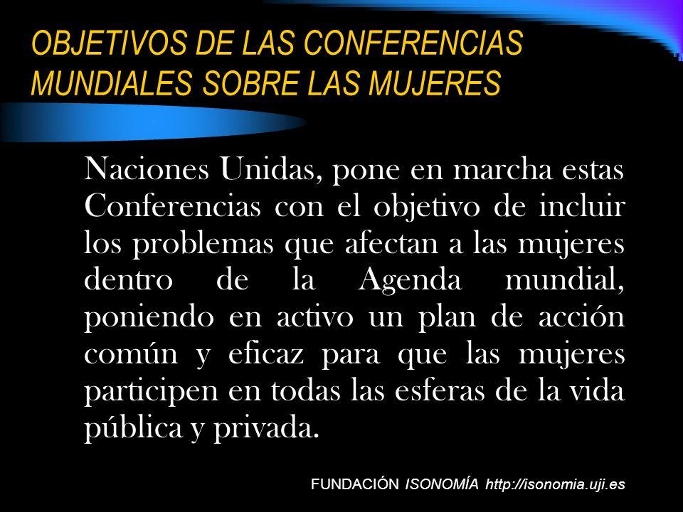 OBJETIVOS DE LAS CONFERENCIAS MUNDIALES SOBRE LAS MUJERES Naciones Unidas, pone en marcha estas Conferencias con el objetivo de incluir los problemas