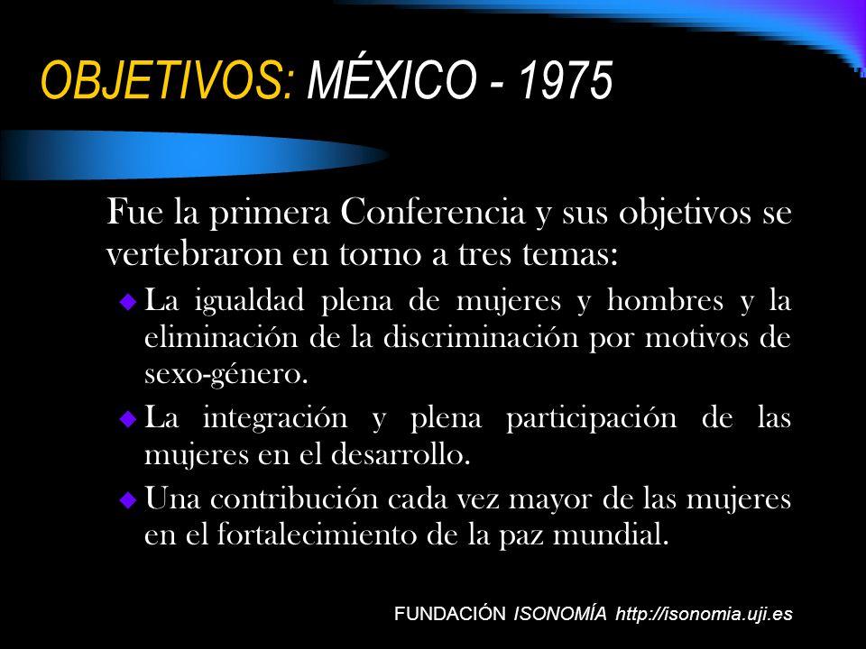 OBJETIVOS: MÉXICO - 1975 Fue la primera Conferencia y sus objetivos se vertebraron en torno a tres temas: La igualdad plena de mujeres y hombres y la
