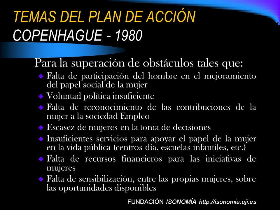 TEMAS DEL PLAN DE ACCIÓN COPENHAGUE - 1980 Para la superación de obstáculos tales que: Falta de participación del hombre en el mejoramiento del papel