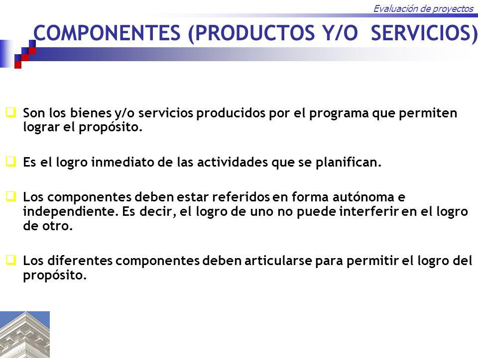 Evaluación de proyectos COMPONENTES (PRODUCTOS Y/O SERVICIOS) Son los bienes y/o servicios producidos por el programa que permiten lograr el propósito