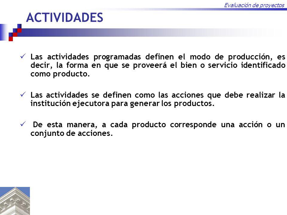 Evaluación de proyectos ACTIVIDADES Las actividades programadas definen el modo de producción, es decir, la forma en que se proveerá el bien o servici