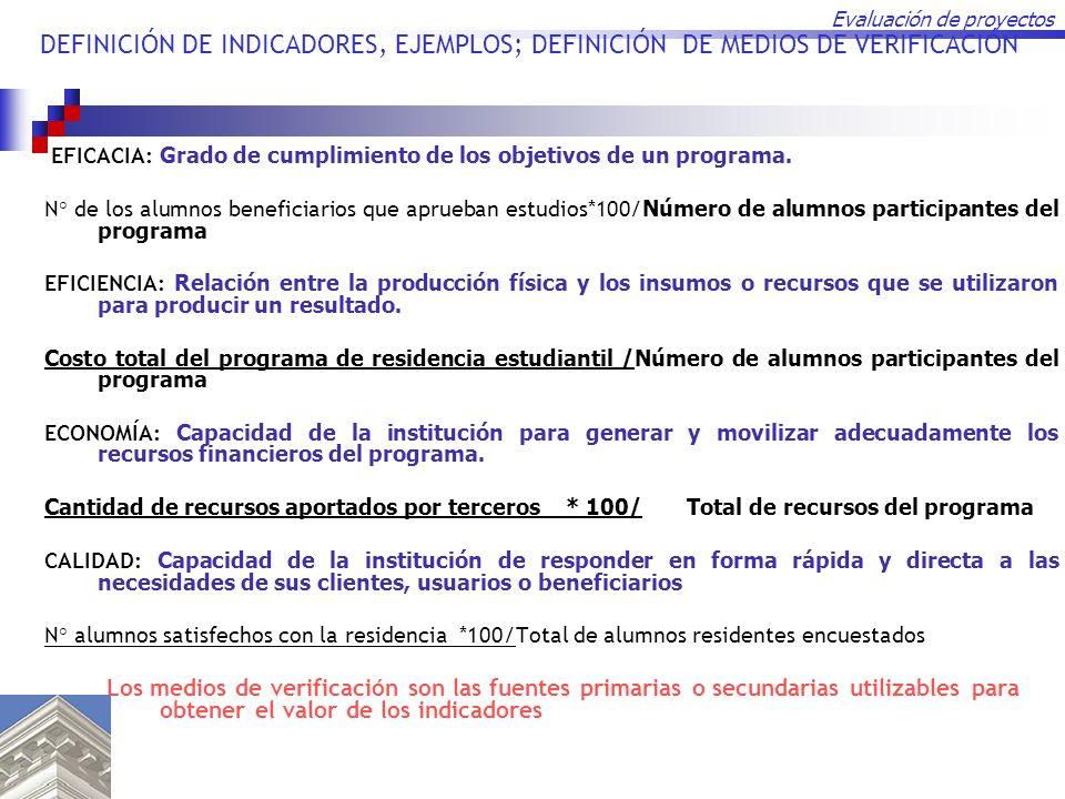Evaluación de proyectos DEFINICIÓN DE INDICADORES, EJEMPLOS; DEFINICIÓN DE MEDIOS DE VERIFICACIÓN EFICACIA: Grado de cumplimiento de los objetivos de