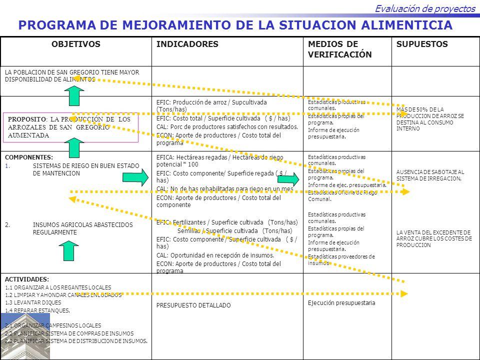 Evaluación de proyectos PROGRAMA DE MEJORAMIENTO DE LA SITUACION ALIMENTICIA Ejecución presupuestaria PRESUPUESTO DETALLADO ACTIVIDADES: 1.1 ORGANIZAR