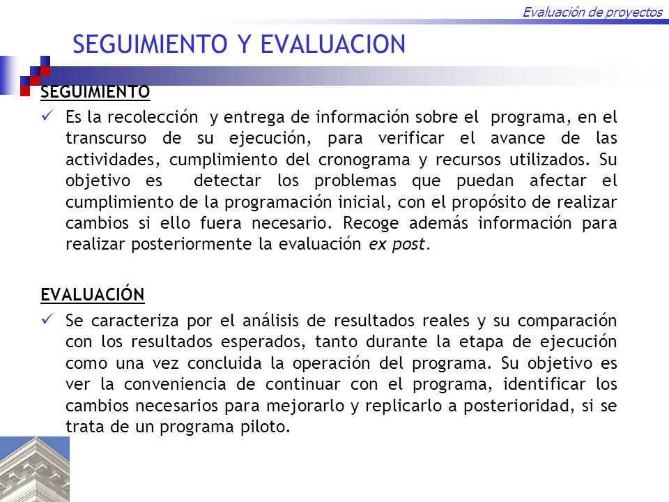 Evaluación de proyectos SEGUIMIENTO Y EVALUACION SEGUIMIENTO Es la recolección y entrega de información sobre el programa, en el transcurso de su ejec