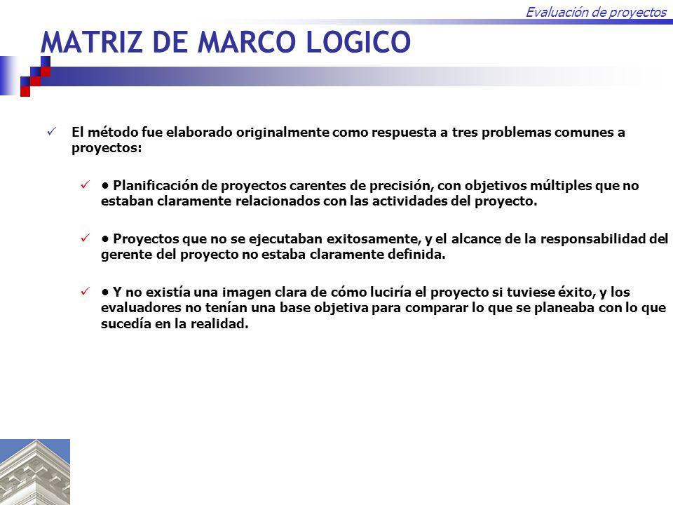 Evaluación de proyectos MATRIZ DE MARCO LOGICO El método fue elaborado originalmente como respuesta a tres problemas comunes a proyectos: Planificació