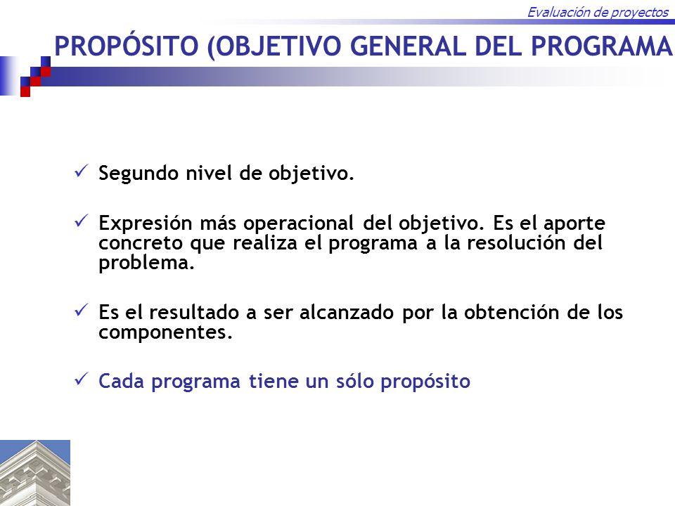 Evaluación de proyectos Segundo nivel de objetivo. Expresión más operacional del objetivo. Es el aporte concreto que realiza el programa a la resoluci
