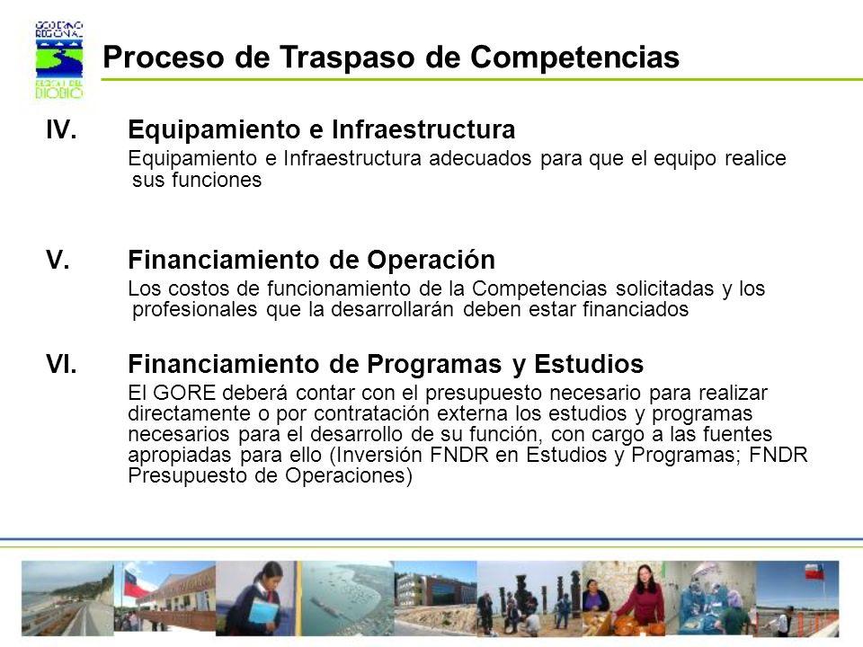 IV.Equipamiento e Infraestructura Equipamiento e Infraestructura adecuados para que el equipo realice sus funciones V.Financiamiento de Operación Los