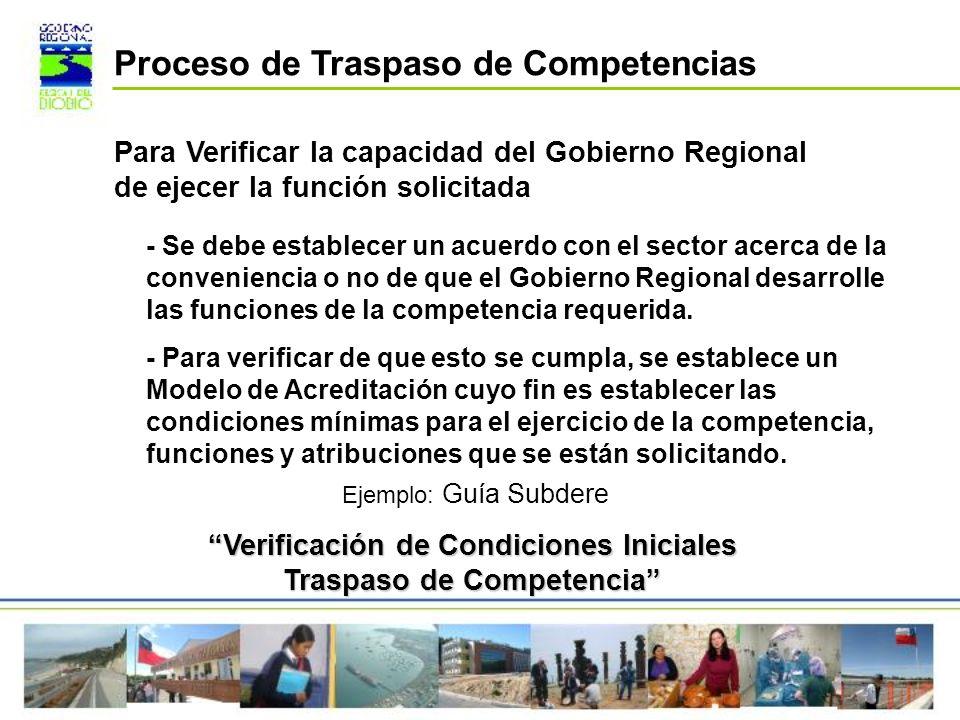 Para Verificar la capacidad del Gobierno Regional de ejecer la función solicitada - Se debe establecer un acuerdo con el sector acerca de la convenien