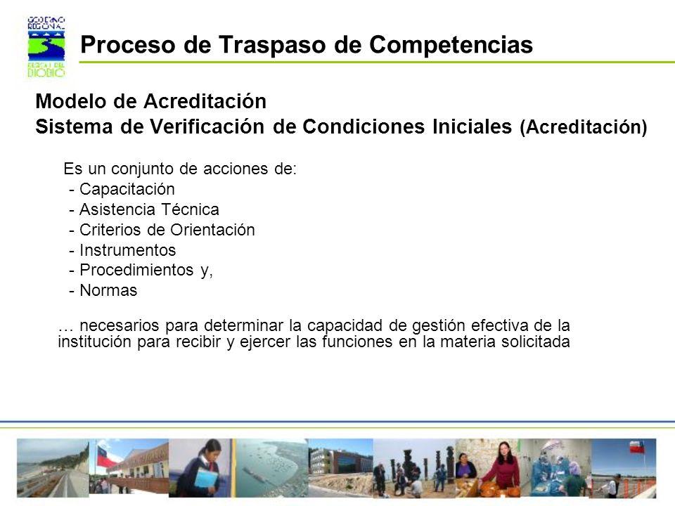Modelo de Acreditación Sistema de Verificación de Condiciones Iniciales (Acreditación) Es un conjunto de acciones de: - Capacitación - Asistencia Técn