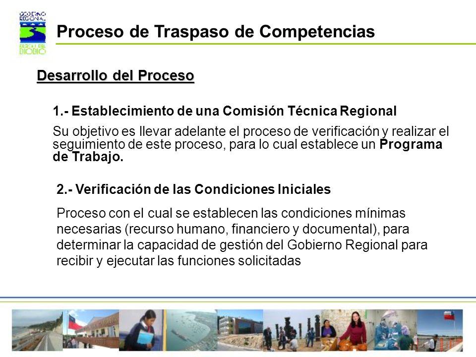 1.- Establecimiento de una Comisión Técnica Regional Su objetivo es llevar adelante el proceso de verificación y realizar el seguimiento de este proce
