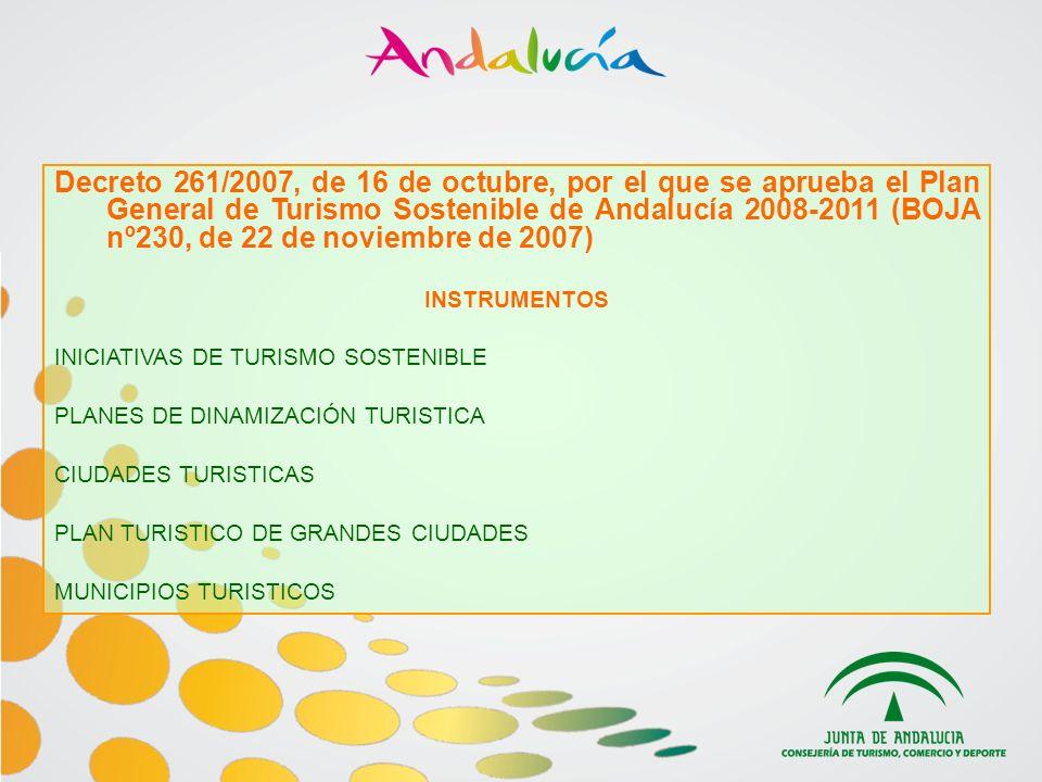 Decreto 261/2007, de 16 de octubre, por el que se aprueba el Plan General de Turismo Sostenible de Andalucía 2008-2011 (BOJA nº230, de 22 de noviembre de 2007) INSTRUMENTOS INICIATIVAS DE TURISMO SOSTENIBLE PLANES DE DINAMIZACIÓN TURISTICA CIUDADES TURISTICAS PLAN TURISTICO DE GRANDES CIUDADES MUNICIPIOS TURISTICOS