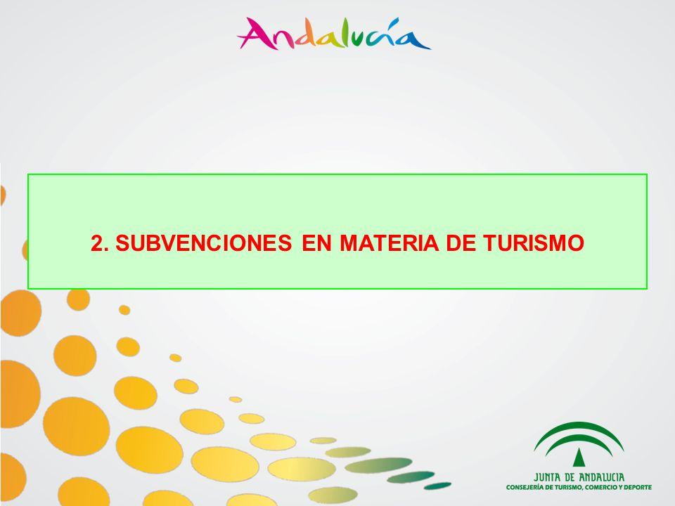 Orden de 12 de noviembre de 2009, por la que se establecen las bases reguladoras de la concesión de subvenciones en materia de Turismo (BOJA nº233, de 30 de noviembre de 2009) MODALIDADES -ITLInfraestructuras Turísticas -ITPServicios turísticos y creación de nuevos productos -PLY/PPY Actuaciones integrales que fomenten el uso sostenible de las playas -FTEFortalecimiento del tejido empresarial andaluz -SCTImplantación de sistemas de calidad -FFIFormación, fomento de la cultura de la calidad e investigación sobre turismo PLAZO DE PRESENTACIÓN: DEL 4 AL 31 DE ENERO DE 2010 Régimen de concesión: concurrencia competitiva Sujetas a las disponibilidades presupuestarias