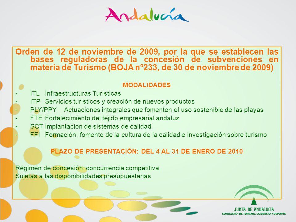 INSTITUTO DE CREDITO OFICIAL (ICO) Línea ICO - Renove Turismo 2009 -Dotación Presupuestaria para 2009: 1000 millones de euros -Préstamos o leasing de hasta 1000.000 (5 ó 7 años de amortización) y de hasta 660.000 (10 ó 12 años de amortización) -Hasta el 90% de la inversión neta a financiar (impuestos excluidos) -Tipo de interés 1,50% (bonificado al 50% por la Consejería de Turismo, según orden de 18 de junio de 2009 BOJA nº22, de 3 de julio de 2009) -Plazo hasta el 15 de diciembre de 2009 -Beneficiarios: empresas propietarias de instalaciones turísticas.
