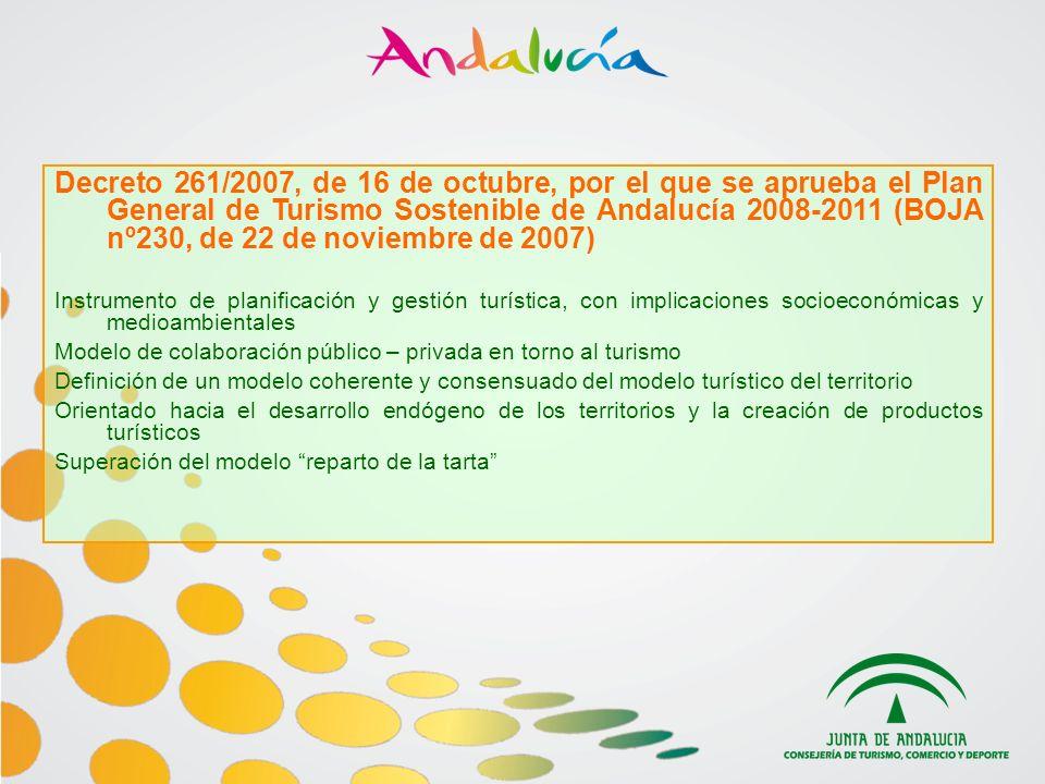 Decreto 261/2007, de 16 de octubre, por el que se aprueba el Plan General de Turismo Sostenible de Andalucía 2008-2011 (BOJA nº230, de 22 de noviembre de 2007) Instrumento de planificación y gestión turística, con implicaciones socioeconómicas y medioambientales Modelo de colaboración público – privada en torno al turismo Definición de un modelo coherente y consensuado del modelo turístico del territorio Orientado hacia el desarrollo endógeno de los territorios y la creación de productos turísticos Superación del modelo reparto de la tarta