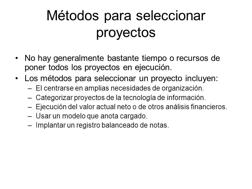 Métodos para seleccionar proyectos No hay generalmente bastante tiempo o recursos de poner todos los proyectos en ejecución. Los métodos para seleccio