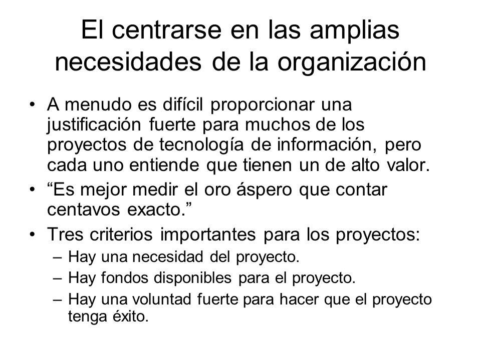 El centrarse en las amplias necesidades de la organización A menudo es difícil proporcionar una justificación fuerte para muchos de los proyectos de t