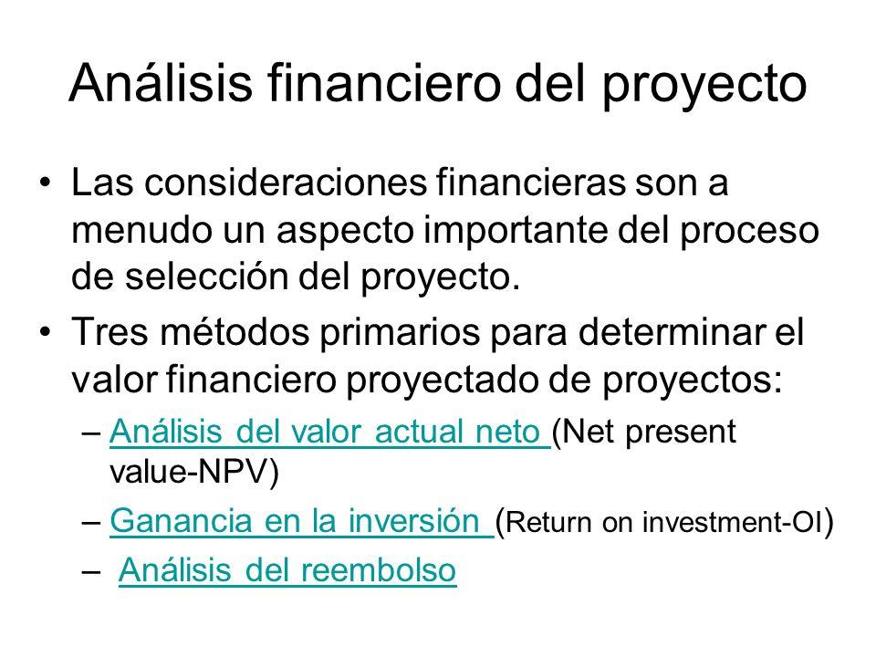 Análisis financiero del proyecto Las consideraciones financieras son a menudo un aspecto importante del proceso de selección del proyecto. Tres método
