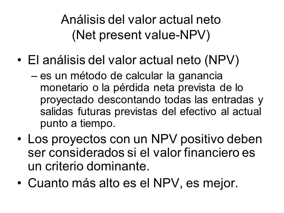 Análisis del valor actual neto (Net present value-NPV) El análisis del valor actual neto (NPV) –es un método de calcular la ganancia monetario o la pé