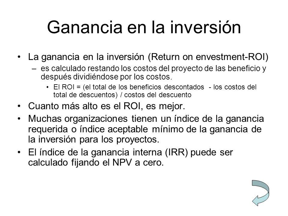 Ganancia en la inversión La ganancia en la inversión (Return on envestment-ROI) –es calculado restando los costos del proyecto de las beneficio y desp