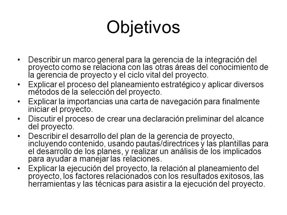 Continuación: objetivos Describir el proceso de monitoreo y control del trabajo del proyecto.