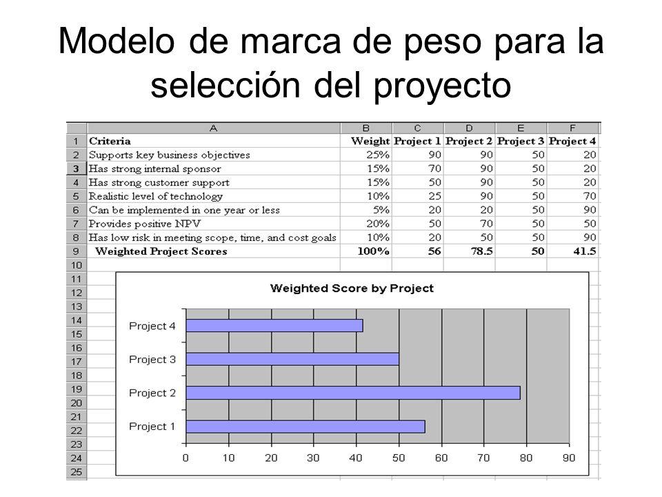 Modelo de marca de peso para la selección del proyecto
