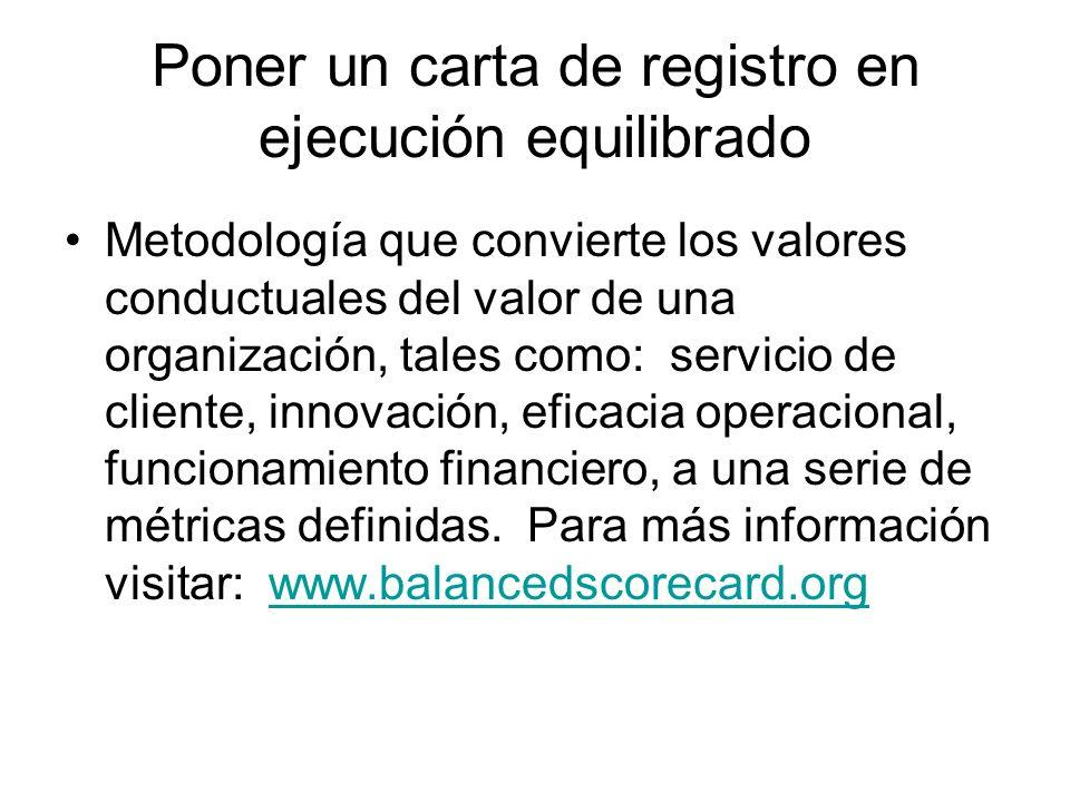 Poner un carta de registro en ejecución equilibrado Metodología que convierte los valores conductuales del valor de una organización, tales como: serv