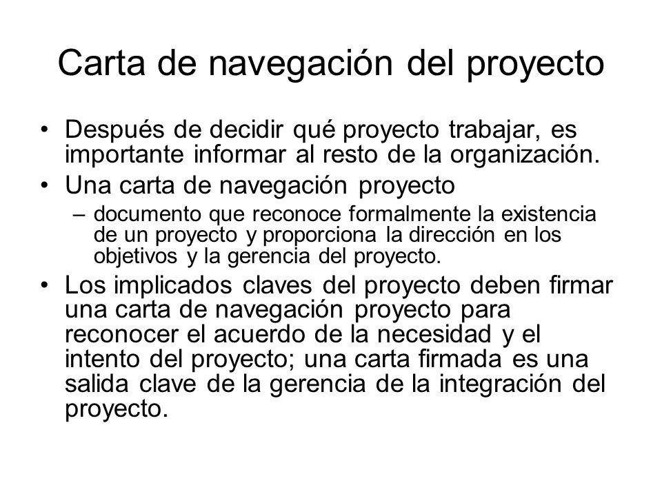Carta de navegación del proyecto Después de decidir qué proyecto trabajar, es importante informar al resto de la organización. Una carta de navegación