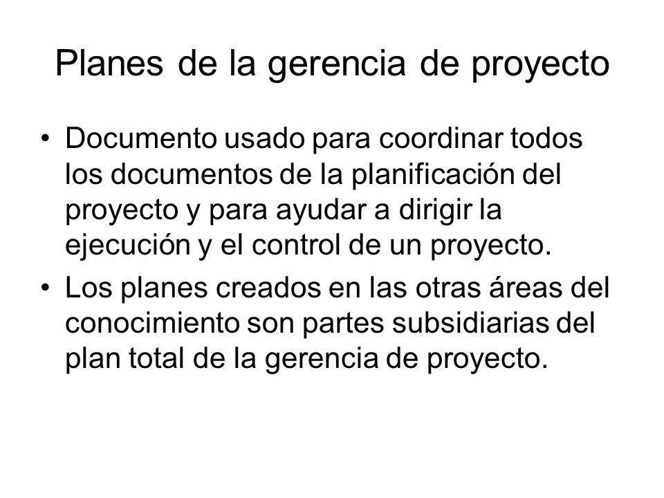 Planes de la gerencia de proyecto Documento usado para coordinar todos los documentos de la planificación del proyecto y para ayudar a dirigir la ejec