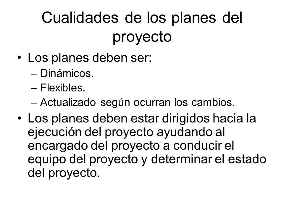 Cualidades de los planes del proyecto Los planes deben ser: –Dinámicos. –Flexibles. –Actualizado según ocurran los cambios. Los planes deben estar dir