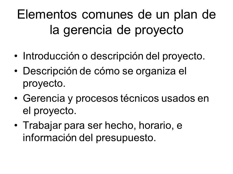 Elementos comunes de un plan de la gerencia de proyecto Introducción o descripción del proyecto. Descripción de cómo se organiza el proyecto. Gerencia