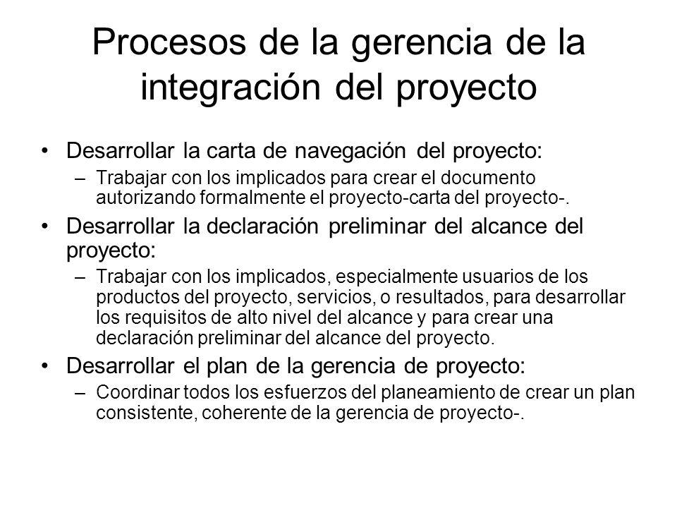 Continuación: Procesos de la gerencia de la integración del proyecto Dirigir y manejar la ejecución del proyecto: –Realizar el plan de la gerencia de proyecto realizando las actividades incluidas en él.