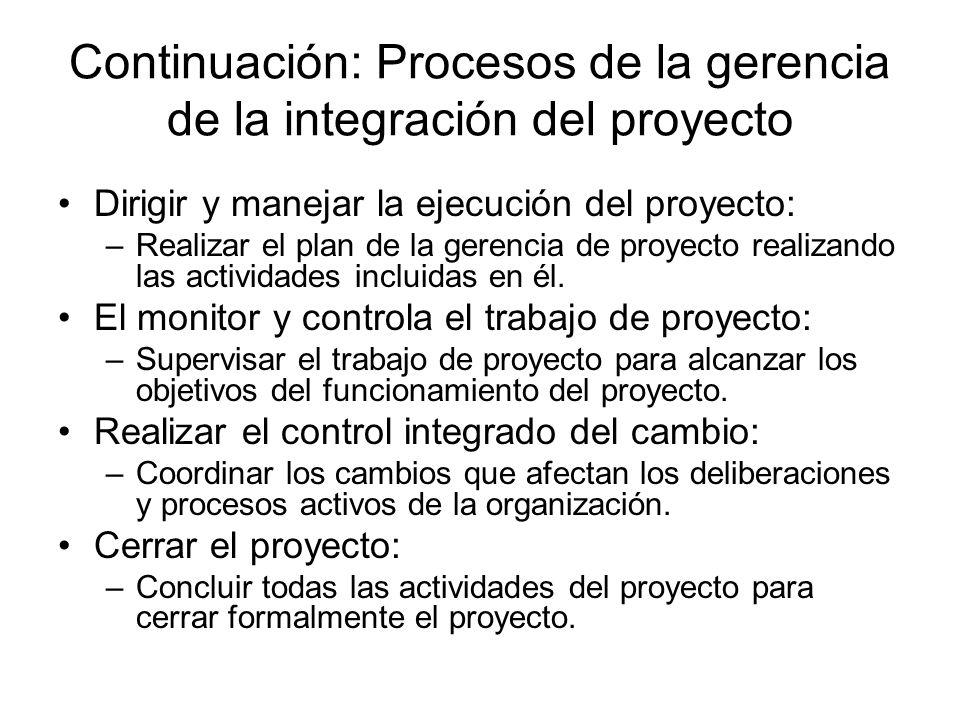 Continuación: Procesos de la gerencia de la integración del proyecto Dirigir y manejar la ejecución del proyecto: –Realizar el plan de la gerencia de
