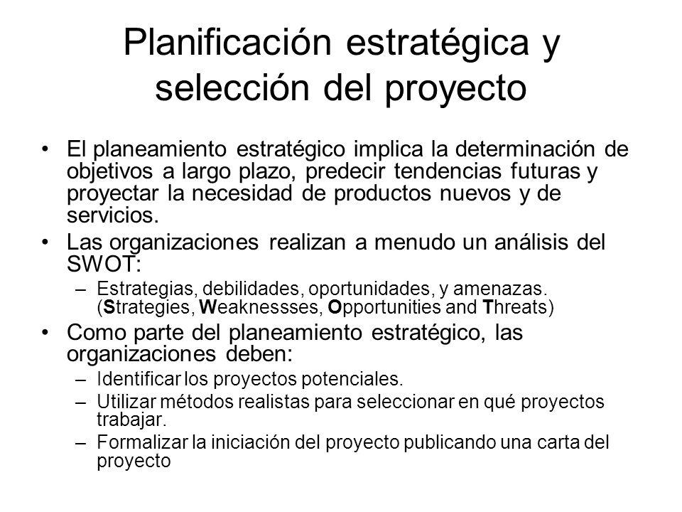 Planificación estratégica y selección del proyecto El planeamiento estratégico implica la determinación de objetivos a largo plazo, predecir tendencia