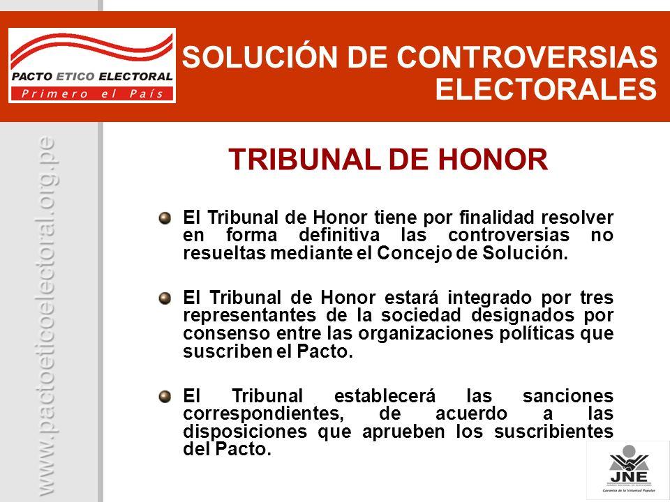 El Tribunal de Honor tiene por finalidad resolver en forma definitiva las controversias no resueltas mediante el Concejo de Solución. El Tribunal de H