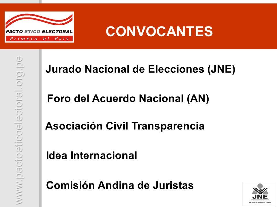 Comisión Andina de Juristas Jurado Nacional de Elecciones (JNE) Foro del Acuerdo Nacional (AN) Asociación Civil Transparencia Idea Internacional CONVO