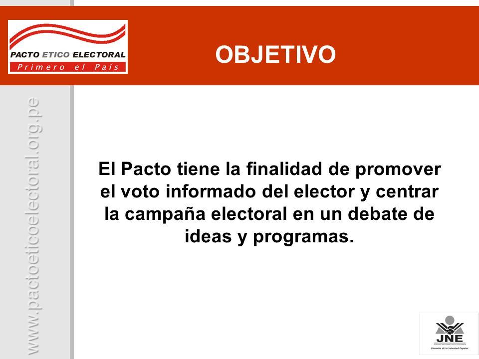 El Pacto tiene la finalidad de promover el voto informado del elector y centrar la campaña electoral en un debate de ideas y programas. OBJETIVO