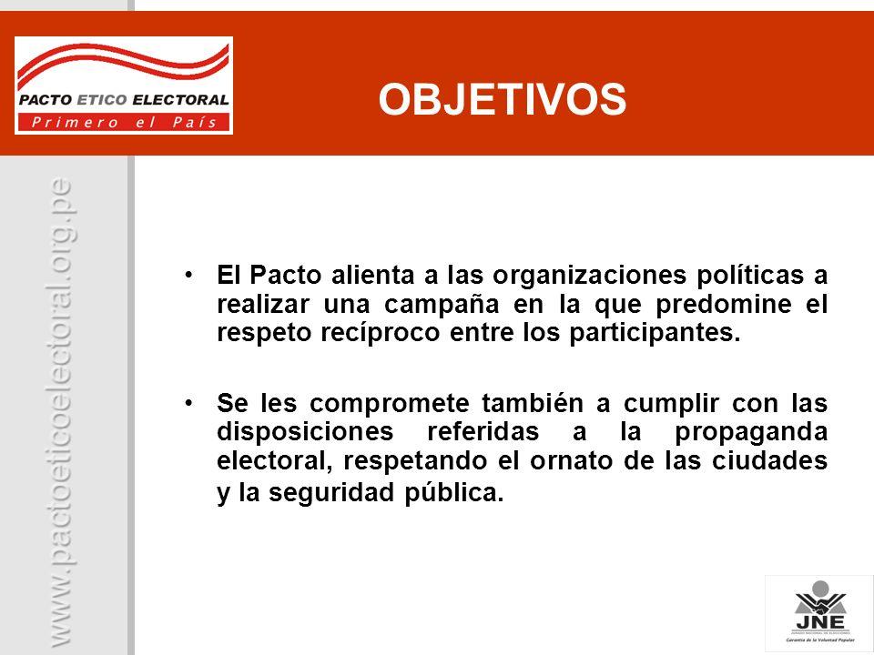 Campaña Ciudad Limpia Propagand a Electoral Neutralidad Hoja de Vida de los candidatos Presentación del Plan de Gobierno- Registro de Promesas COMPROMISO DEL PACTO COMPROMISOS