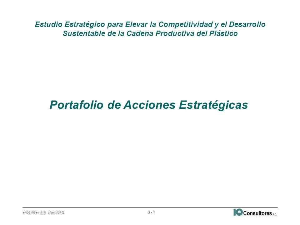 ani10/31842/ani10rf01 g1.ppt/10.24.03 G - 1 Estudio Estratégico para Elevar la Competitividad y el Desarrollo Sustentable de la Cadena Productiva del Plástico Portafolio de Acciones Estratégicas