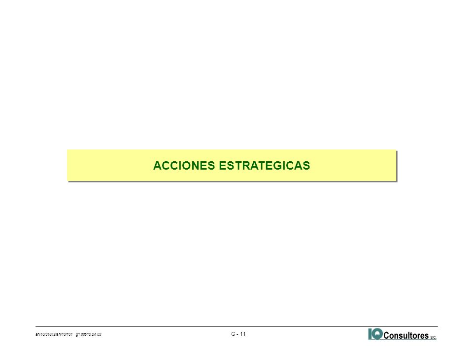 ani10/31842/ani10rf01 g1.ppt/10.24.03 G - 11 ACCIONES ESTRATEGICAS