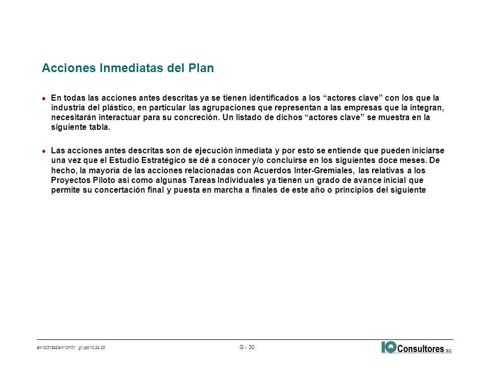 ani10/31842/ani10rf01 g1.ppt/10.24.03 G - 30 Acciones Inmediatas del Plan l En todas las acciones antes descritas ya se tienen identificados a los actores clave con los que la industria del plástico, en particular las agrupaciones que representan a las empresas que la integran, necesitarán interactuar para su concreción.