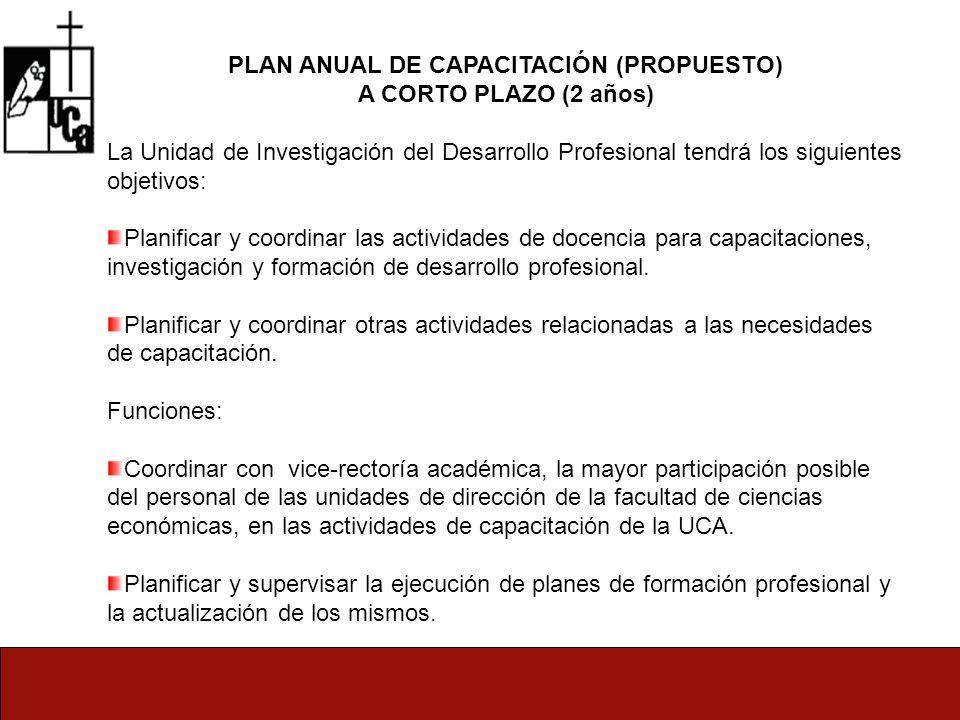 PLAN ANUAL DE CAPACITACIÓN (PROPUESTO) A CORTO PLAZO (2 años) La Unidad de Investigación del Desarrollo Profesional tendrá los siguientes objetivos: Planificar y coordinar las actividades de docencia para capacitaciones, investigación y formación de desarrollo profesional.