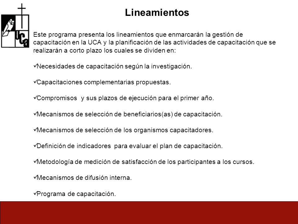Lineamientos Este programa presenta los lineamientos que enmarcarán la gestión de capacitación en la UCA y la planificación de las actividades de capacitación que se realizarán a corto plazo los cuales se dividen en: Necesidades de capacitación según la investigación.