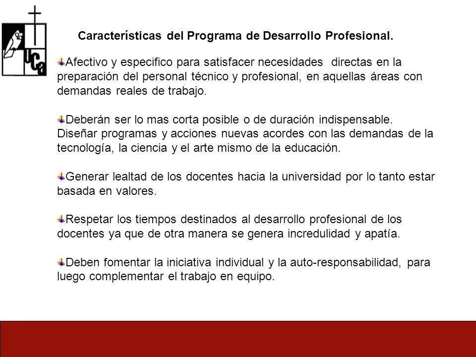 Características del Programa de Desarrollo Profesional.