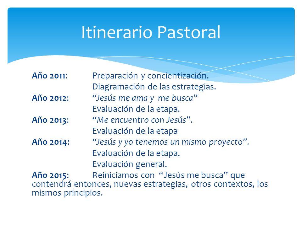 Año 2011: Preparación y concientización. Diagramación de las estrategias. Año 2012: Jesús me ama y me busca Evaluación de la etapa. Año 2013: Me encue