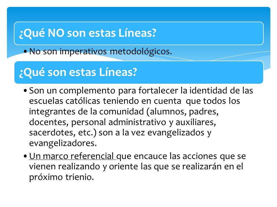 ¿Qué NO son estas Líneas? No son imperativos metodológicos. ¿Qué son estas Líneas? Son un complemento para fortalecer la identidad de las escuelas cat