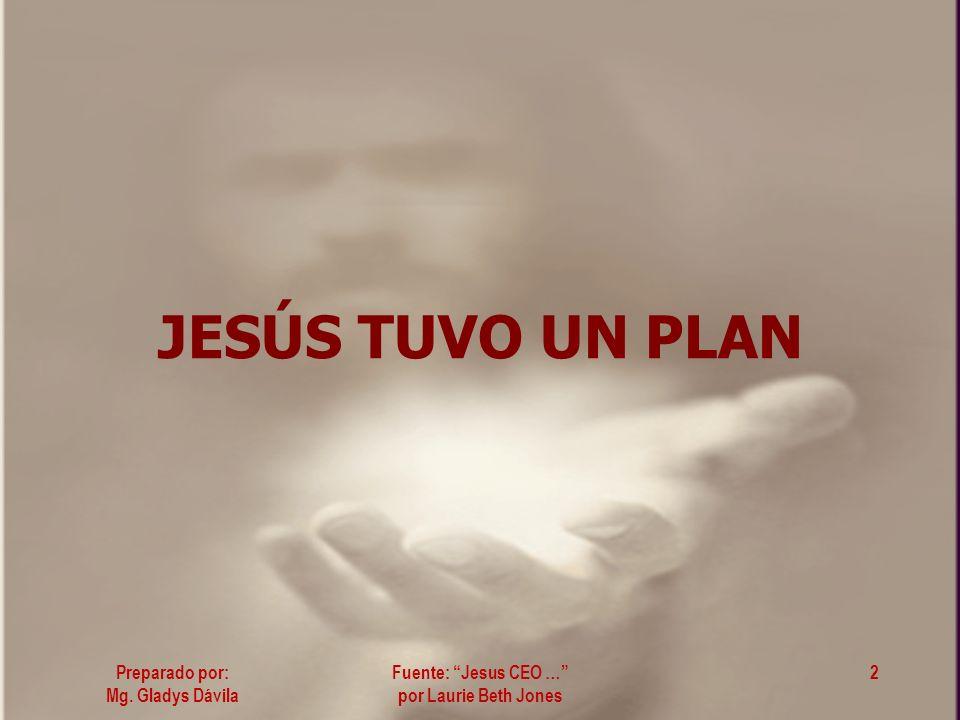 JESÚS TUVO UN PLAN Fuente: Jesus CEO … por Laurie Beth Jones Preparado por: Mg. Gladys Dávila 2